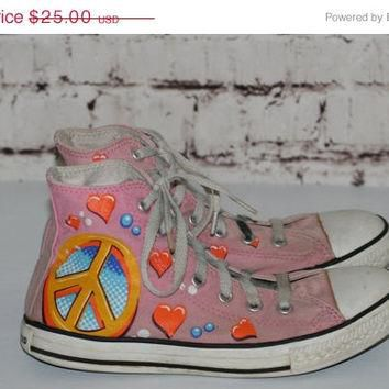 40% OFF 90s Chuck Taylor converse limited edition Drew Brophy pink peace sign hearts h