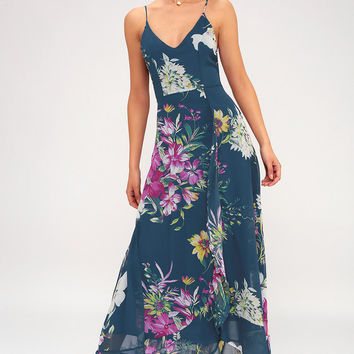 Passion Island Teal Blue Floral Print Maxi Dress