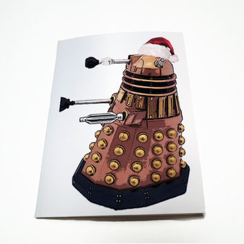 "Doctor Who Christmas Card, Dalek Santa Geeky Holiday Card, 4.25"" x 5.5"""