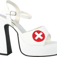costume shoes: sexy nurse high heels - white | size: 9