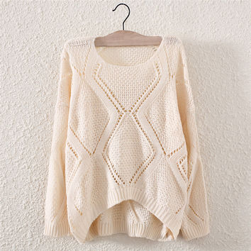 Fashion Women's White Hollow Knit Pullover Sweater