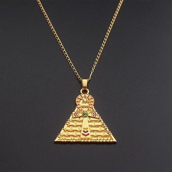 Gold Egyptian Ankh Chain Necklaces & Pendants Hot Sell Triforce Collares Fashion Enamel Triangle Crystal Necklace Chokers 2017