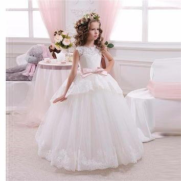 White Kids Evening Gowns Half Sleeves With Belt Ball Gown Beaded Lace Flower Girl Dress 2016 First Communion Dresses For Girls