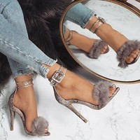 Faux Fur High Heels Sexy Snakeskin Pattern  High Heels