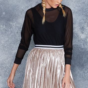 ATTENTION PLEATS WHITE GOLD MINI SKIRT - LIMITED