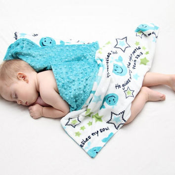 Blue whale baby blanket - Teal blue backing - ready to ship plush minky fabric, Christian bible verse from Psalms
