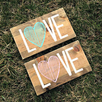 Love Sign, Nursery Sign, Wood Love Sign, Painted Sign, Anniversary Gift, Baby Shower Gift, Mother's Day Gift, Rustic Nursery, Heart Sign