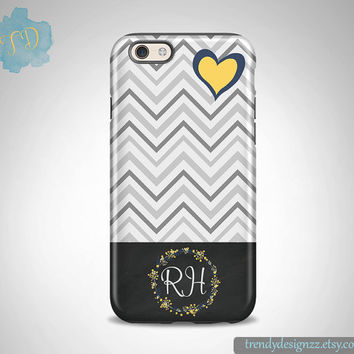 Personalized iPhone case, iPhone 6 case iPhone 5 5C case Samsung S6 S5 case, Gift, Gray Chevron Navy Yellow Heart, Chalkboard Design (7)