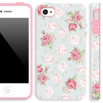 iphone 4 cases for girls,Akna Glamour Series [Flexible TPU]*[High Impact]*[Retro Floral Pattern] Soft Back Cover for iPhone 4 4S - [Young Green]** Indestructible
