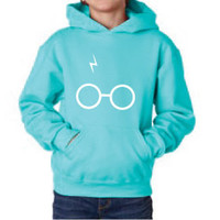 Harry Potter Inspired Kids Clothing - Glasses & Scar Hooded Sweatshirt - Unisex Youth