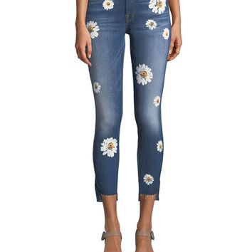 7 for all mankind Ankle Skinny Jeans with Stem Hem, Distressed Authentic Light