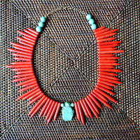 Reserved - Red Spike Turquoise Nugget Necklace
