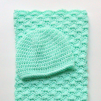 Pastel Green Bunting Baby Boy Hat Newborn Girl Sleep Sack Infant Cocoon Light Cap Children Clothing 0 - 6 Months Beanie Shower Gift Set