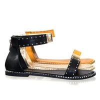 Minimal21 by Bamboo Rockstar Ankle Strap Flat Sandal w Metal Stud Rivets Along Trimming