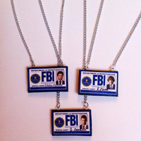 ALL 3 Supernatural FBI Badge Necklaces