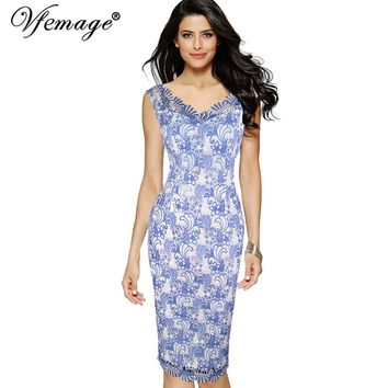 Vfemage Women Elegant Sexy Crochet Lace Floral Print Vintage Pinup Slim Party Evening Special Occasion Bodycon Pencil Dress 7051