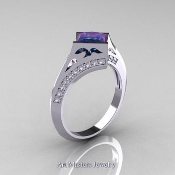 Modern French 14K White Gold 1.0 CT Princess Chrysoberyl Alexandrite Diamond Engagement, Wedding Ring R176-14WGDAL