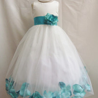 Flower Girl Dress - Ivory Rose Petal Dress with Teal - Wedding, Easter, Junior Bridesmaid, Formal Girl Dress, Recital (FGPT)