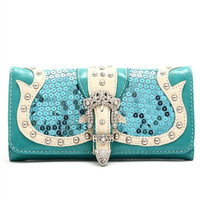 * Western Cowgirl Rhinestones Buckle Sequins Design Trifold Wallet In Turquoise