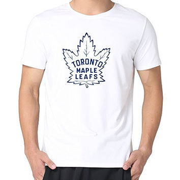 JUST Men's Old Time Hockey Logo Toronto Maple Leafs T-Shirts White L