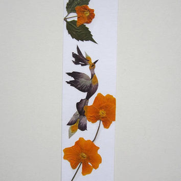 "Handmade unique bookmark ""Conquering height"" - Pressed flowers bookmark - Unique gift - Paper bookmark - Original art collage."