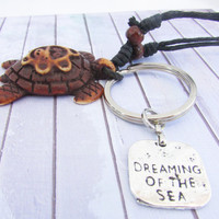 Keychain Necklace, Beach Lanyard, Unisex Lanyard, Sea Turtle Rope Lanyard, Dreaming of the Sea keychain Necklace