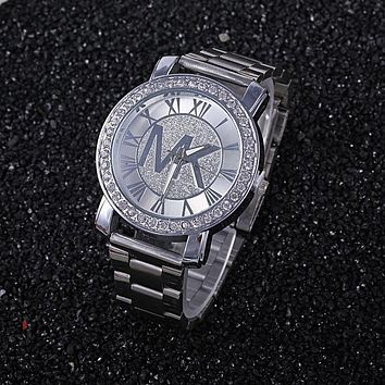 Good Price Designer's Great Deal Trendy New Arrival Gift Awesome Ladies Fashion Stylish Rhinestone Dial Diamonds Stainless Steel Band Watch [415630589988]