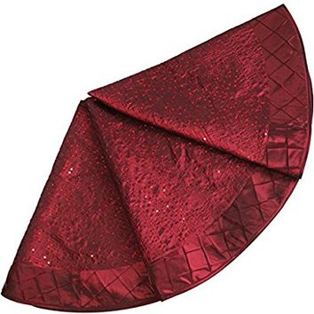"SORRENTO Glitter Sparkle Sequin Body Pintuck Border Extra Large 50"" deluxe Christmas Tree Skirt-Burgundy P2599"