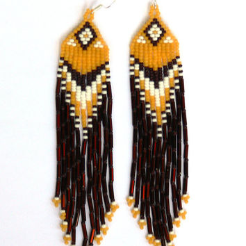 Native American Earrings Inspired. Yellow White Brown Earrings. Dangle Fringe Geometric Long Earrings. Beadwork.