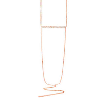 0.18ct 14k Rose Gold Diamond Pave Lariat Necklace