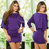 ON SALE Ladies Wrapped Mini Party Dress Night Clubbing wear KTV Fancy costume long sleeve Summer Fashion dresses purple black Drop Shipping = 1945701828