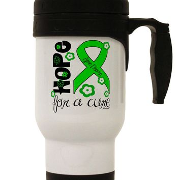 Hope for a Cure - Lime Green Ribbon Lyme Disease - Flowers Stainless Steel 14oz Travel Mug