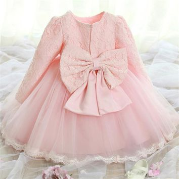 Elegant Girl Dress Girls Summer Fashion Pink Lace Big Bow Party Tulle Flower Princess Wedding Dresses Baby Girl dress,0-2Y