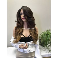 Ombre Reddish Blonde Balayage Human Hair Blend Deep Multi Parting Lace Front Wig - Noel