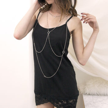 Tulip Lace Tank Top - Black