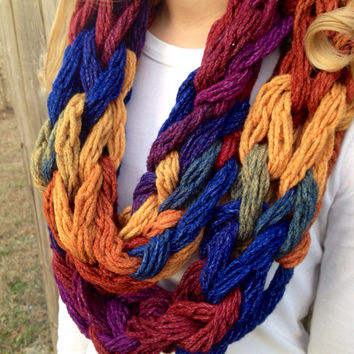 Dash Rainbow Arm Knit Scarf, Arm Knit Cowl, Chunky Infinity Scarf