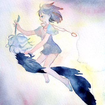 "Original watercolor Painting  5x7 fairy illustration ""朽ちるまでは飛んでくれ"" Fly until you die - Original picture,fantasy illustration, feather"