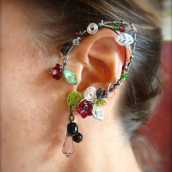 Pair of Spring Garden Elf Ear Cuffs with Glass Flowers and Leaves, non pierced earring, Fairy, Renaissance, Elven