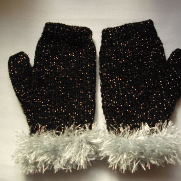 Black glitter fingerless gloves with silver faux fur trim - one size