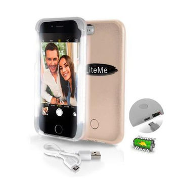 SereneLife LED Illuminated Phone Case For iPhone 6 6s And Battery Pack And Power Bank 2 in 1 - Gold