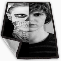American Horror Story skull Tate Blanket for Kids Blanket, Fleece Blanket Cute and Awesome Blanket for your bedding, Blanket fleece **