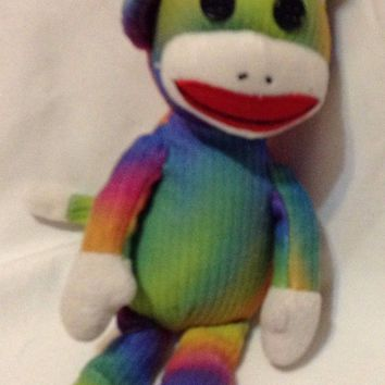 TY Rainbow Tie Dyed Sock Monkey 2012 stuffed animal hippie rock Toy Doll plush