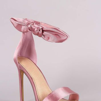 Liliana Satin Open Toe Side Knotted Bow Stiletto Heel