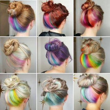 """US 12PCS Clip in Streaks Highlight Hair Dye Multi-color 20"""" Hairpiece Extensions"""