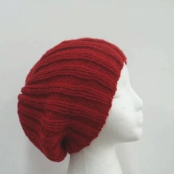 Red knitted slouchy beanie ribbed hat  5299