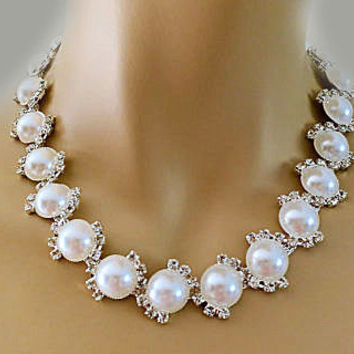 Retro Pearl Bridal Necklace, Old Hollywood Style Rhinestone Wedding Pearl Necklace, Vintage Style Wedding Jewelry