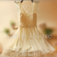Beads Lace Applique Sheer Straps Short Bridesmaid Celebrity dress ,Tulle Evening Party Prom Dress Homecoming Dress