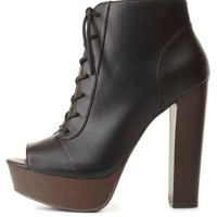 Lace-Up Peep Toe Platform Booties by Charlotte Russe