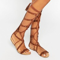 Glamorous High Leg Gladiator Flat Sandals