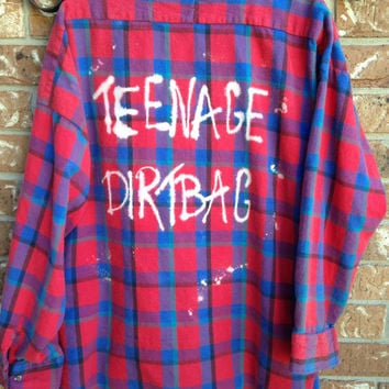 Soft Plaid flannel teenage Dirtbag bleached and grunged shirt // soft grunge